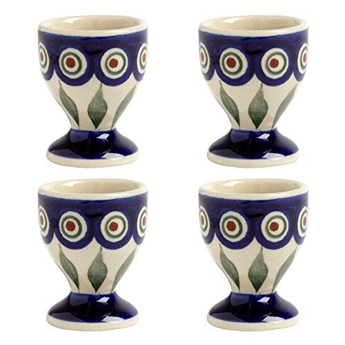 Blue Peacock Handmade Ceramic Egg Cups Manufaktura W Boleslawiec Genuine Hand Painted Polish Pottery, Set of - Egg Blue Cup