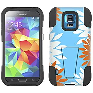 Samsung Galaxy S5 Sport Hybrid Case Diamond Flowers 2 Piece Style Silicone Case Cover with Stand for Samsung Galaxy S5 Sport
