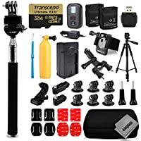 Opteka 2x Batteries + 32GB Memory + WiFi Remote + Selfie Stick + Tripod + Charger + Case + Wrist Strap + Helmet Mount Kit + Seatpost Mount + More For GoPro Hero4 Cameras