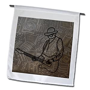 Jos Fauxtographee Musical - A Man with a guitar made of metal on a musical backdrop - 12 x 18 inch Garden Flag (fl_64872_1)