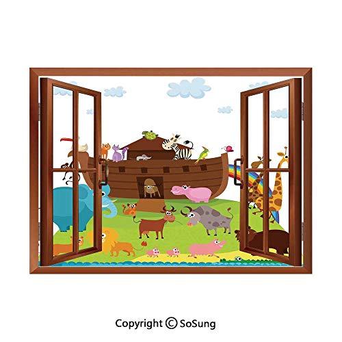 Noahs Ark Removable Wall Sticker/Wall Mural,Various Safe Animals Two of Every Kind Boarding Noahs Ark Clip Art Design Print Creative Open Window design Wall Decor,24