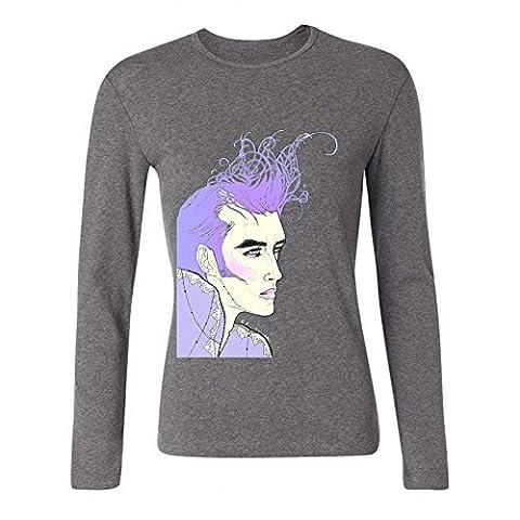 TMILLER Women's Morrissey Autobiography Long Sleeve T-shirt Size L Grey (San Francisco Slaughter)