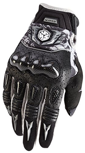 CRAZY AL'S MX49 Full Finger Professional Motorcycle Leather Gloves with Carbon Fiber Shell Protection Sportswear Cycling Outdoor Sports Gloves for SCOYCO Black/Grey M/L/XL (XL, Black) ()