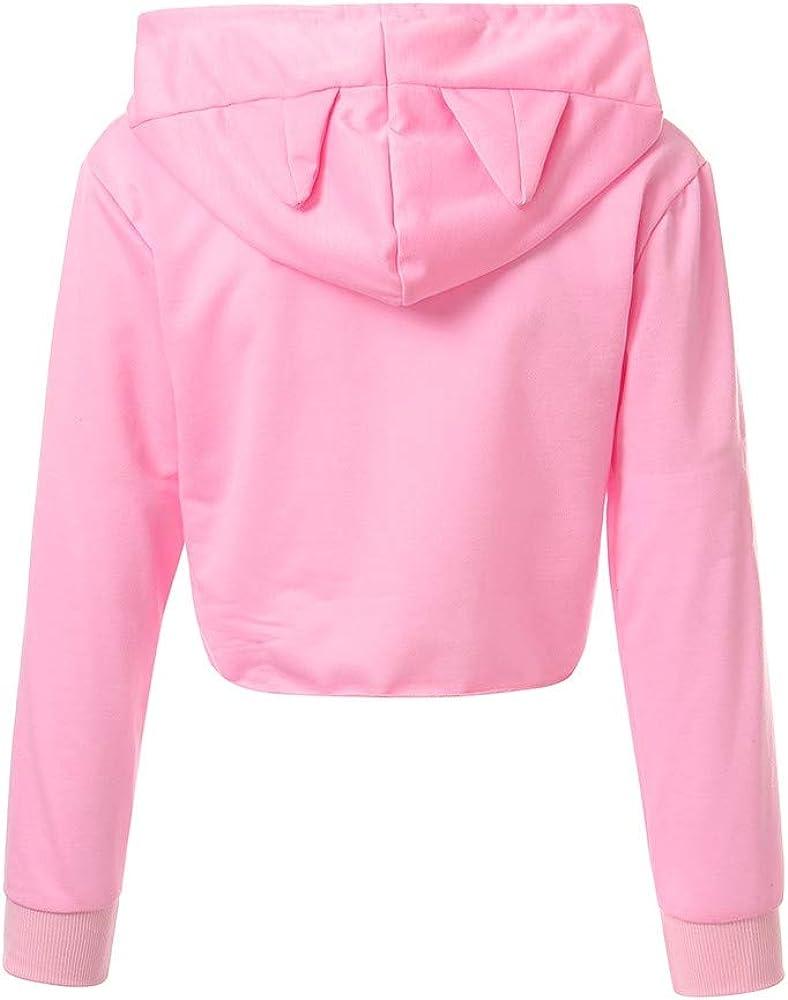 Womens Sweatshirts and Hoodies Hessimy Womens Cropped Hoodie Cute Cat Ear Long Sleeve Cotton Sweatshirts