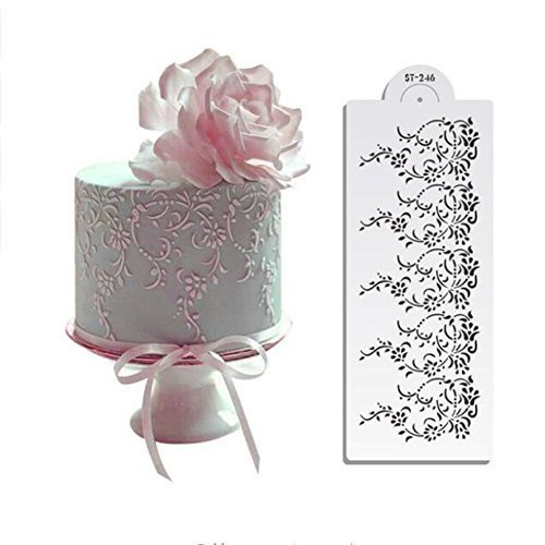 "4.75""Hx12.75""W Vintage Lace Cake Stencil, Cake Lace Side Plastic Stencil, Cake Side Lace Stencil, Cake Decoration Sugar Sieve,Cake Border Decorting Mold, Baking Stencil Pastry Tools Baking Supplies"