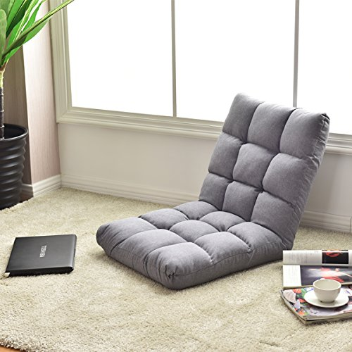 Giantex Adjustable Floor Gaming Sofa Chair 14-Position Cushioned Folding Lazy Recliner (Gray)