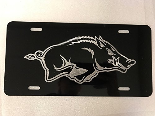 sas Razorbacks Logo Car Tag on Aluminum License Plate ()
