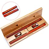 2 Pairs 10 Inch Natural Red Rosewood Chinese Chopsticks Custom Engraved With Personalized Names And Date in Gold Color - Classic Gift Set With Two Red Rosewood Rests and Bamboo Carry Case