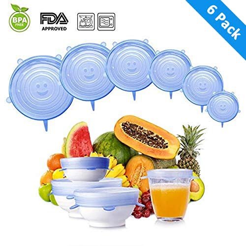 IKain Fik 6-Pack Premium Silicone Stretch Lids Reusable Covers, Superior for Keeping Food Fresh, Durable and Expandable to Fit Various Sizes and Shapes of Containers, Blue