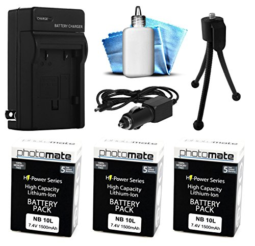 (3 Pack) PhotoMate NB-10L NB10L Ultra High Capacity Rechargeable Battery (1500mAh) + Rapid Home AC Wall Charger + Car Adapter + Euro Plug + Cleaning Kit + Mini Tripod for Canon Powershot SX40 HS, SX40HS, SX50 HS, SX50HS, SX60 HS, SX60HS, G1 X, G1X, G15, G16 Digital Camera