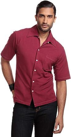 Collectif Harry Havan Buttoned - Camisa de Punto para Hombre Granate XXXL: Amazon.es: Ropa y accesorios