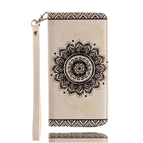 YAJIE-Carcasa Funda Para Huawei Mate 9, regraba la caja de la cartera de cuero de la PU Mandala Datura Flower [Soporte / Ranura para tarjeta] Con correa de muñeca Lanyard Flip Case Cover ( Color : Blu White