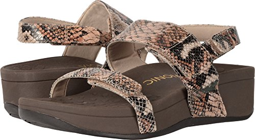 Vionic Womens Pacific Bolinas Backstrap Wedge Sandal Tan Snake Size 9 (Snake Tan)