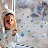 "BIBITIME Merry Christmas Blue Frozen Snowflakes Wall Stickers Wall Decals, Living Room Bedroom Shop Window Removable Wall Stickers Murals DIY Home Decorations Art Decor (Christmas Snowflakes)  Original Size:21*30cm & 8.27""*11.81""(Defined ..."