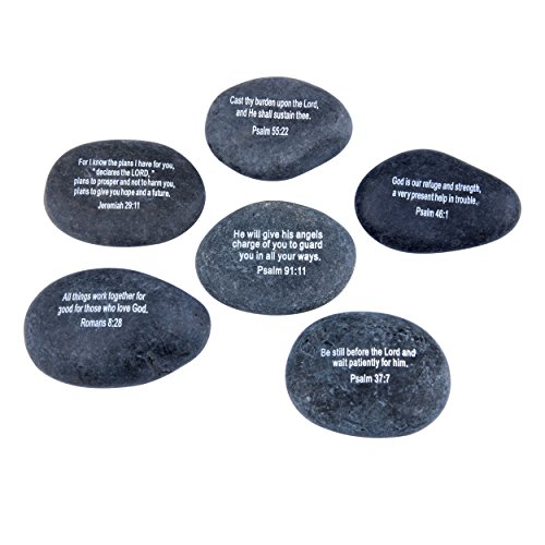 Holy Land Market Engraved Inspirational Black Stones - model I - (6 Biblical verses - Large 2 - 3 Inches ) from the Holy Land