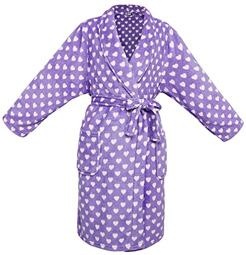 Children's Soft Plush Long Sleeved Bathrobe w/ Pockets,Purple/ Pink Heart,M