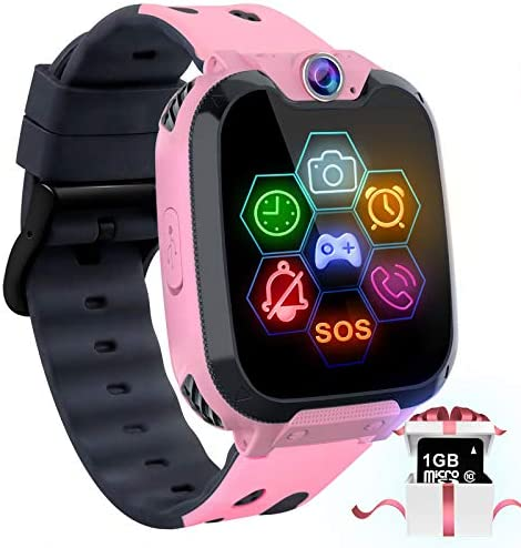 "Kids Game Smart Watch Phone – 1.54"" Touch Screen Game Smartwatches with [1GB Micro SD Card] Call SOS Camera 7 Games Alarm Clock Music Player Record for Children Boys Girls for 4-12 Years (Pink)"