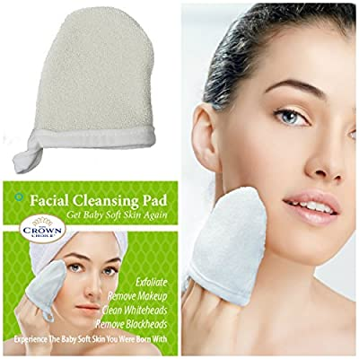 Natural Exfoliating Facial Scrubber Pad | Durable Pore Cleansing and Face Buff Puff Exfoliator | Mitt Style to Wash Face, Remove Dead Skin, Whitehead, Acne