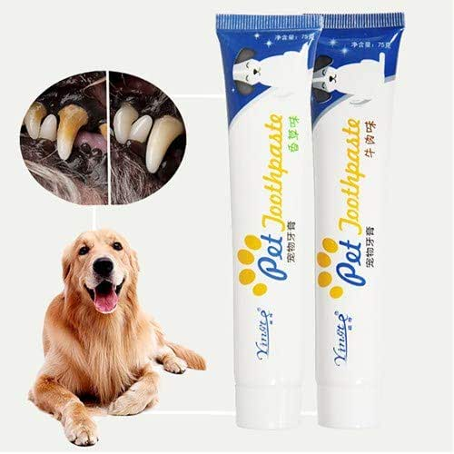 Enzymatic Beef Flavored Canine Toothpaste,Dental Care Set Vanilla Flavor Toothpaste for Dog Cat,Helps Reduce Tartar and Plaque Buildup,Safe Natural Pet Toothpaste,Make it Love to Brush Teeth (Beef)