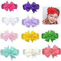 PUBAMALL Multicolor Grosgrain Ribbon Boutique Hair Bows Pinzas de cocodrilo para niñas bebés Adolescentes Niños pequeños (10 pcs)
