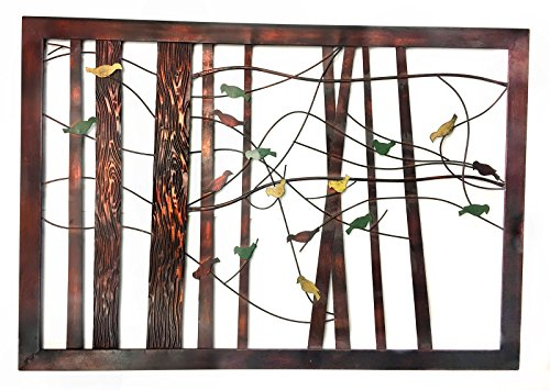 Branch Metal Wall Art (Classic Decor Intricate Bird on a Wire Metal Wall Art and Branch Tree Motifs)