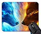 Ice and Fire Wolf Head Mouse Pad Non-Skid Natural Rubber Rectangle Mouse Pads Home Office Computer Gaming Mousepad Mat
