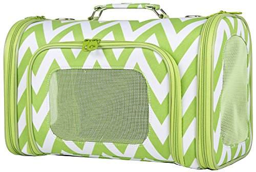 Moda Light Two - Ever Moda Green Zig Zag Chevron Pet Carrier, Medium