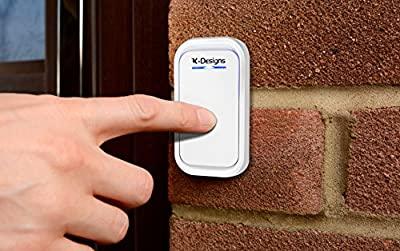 K Designs Wireless Doorbell with 38 Melodies, LED Indicators and Portable Battery Power