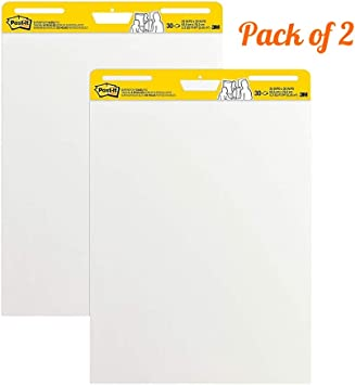 4 Pads 25 x 30 Inches Post-it Super Sticky Easel Pad Large White Premium Self Stick Flip Chart Paper LLS 30 Sheets//Pad Super Sticking Power