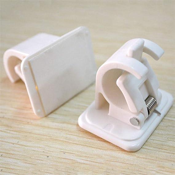 Imagen de2 clips de retención, multifuncional, abrazadera de sujeción de barra para colgar en la pared, toallero de almacenamiento para ventana, cortina, cocina, baño, accesorios