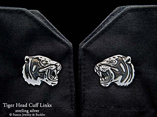 Tiger Head Cuff Links in Solid Sterling Silver Hand Carved & Cast by Paxton by Paxton Jewelry