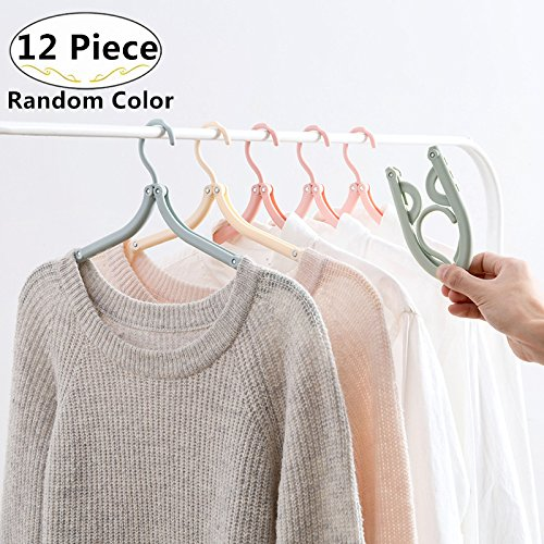 12 Pack Portable Folding Clothes Hangers, Carnatory Foldable Travel Hangers Clothes Drying Rack for Travel Home Camping Outdoor Clothes Shirts Sweaters Dress