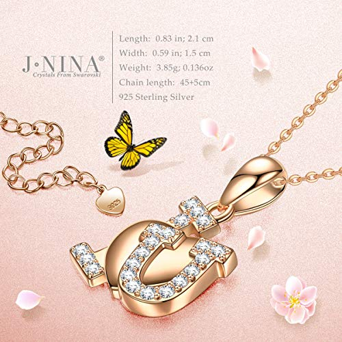 J.NINA 925 Sterling Silver Jewelry Necklace -I Love You- with Crystals from Swarovski, Fashion Heart Pendant Necklace, Gift for Women with a Luxury Packaging