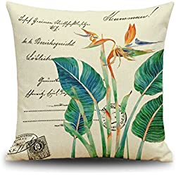 Green Leaf Stamp Chinese Style Cotton Linen Home Decor Pillowcase 18*18