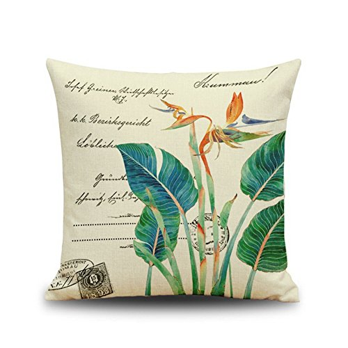 Price comparison product image Green Leaf Stamp Chinese Style Cotton Linen Home Decor Pillowcase 18*18