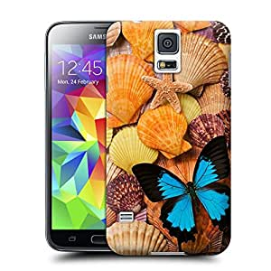Tostore Blue Butterfly and Sea Shells battery cover for samsung galaxy s5 case