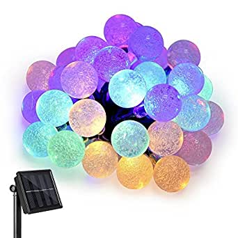 Solar String Lights Globe Multi Color 8 Modes, Ankway 20ft 30 LED Non-friable Crystal Ball String Lights Outdoor Waterproof LED String Lights for Garden Patio Bushes Bedroom and Windows Christmas