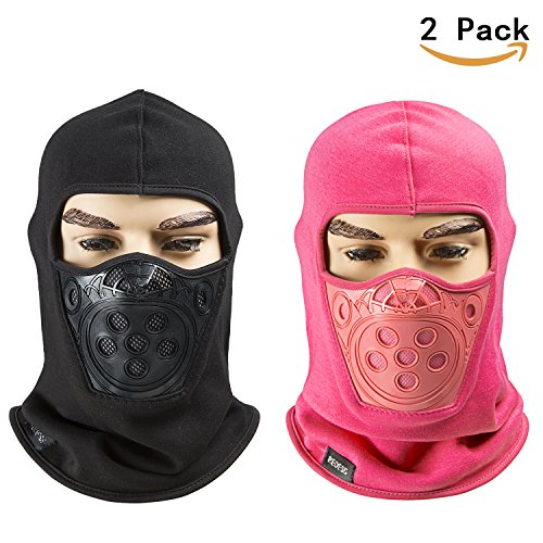 Fleece Lined Balaclava, Breathable Winter Windproof Ski Face Mask, Tactical Hat and Neckwarmer for Winter Sports by REDESS (Black,Rose Red)