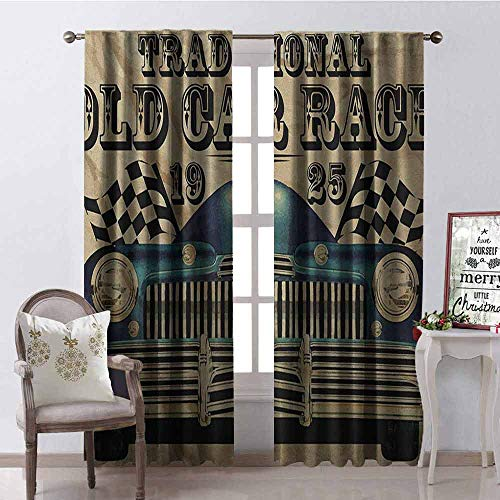 Gloria Johnson Cars Heat Insulation Curtain Traditional Old Car Race Theme Nostalgic American Car with Flags Rusty Look for Living Room or Bedroom W52 x L72 Inch Sand Brown Black Blue