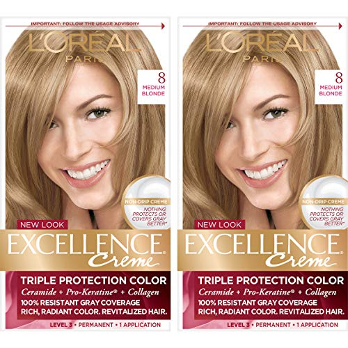 L#039Oreal Paris Excellence Creme Permanent Hair Color 8 Medium Blonde Pack of 2 100% Gray Coverage Hair Dye