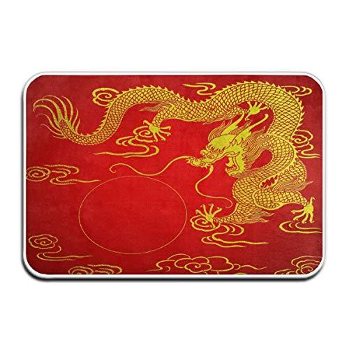 Beigehome Doormats Indoor Entrance 23.6 x 15.7 Inches Chinese Dragon Gold Red Floor Mats for Shoe Scraper Rug Outdoor Bathroom Carpet