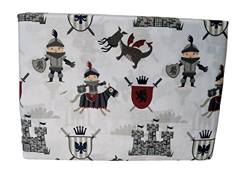 Authentic Kids Medieval 4 Piece 100% Cotton Sheet Set (Knights, Castles, Dragons & Shields) (Full)