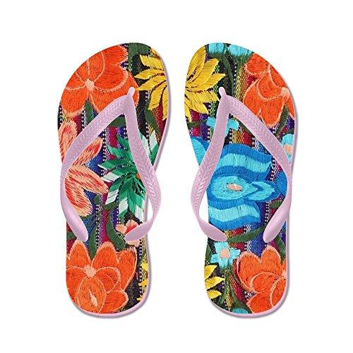 Mexicaanse Bloem Borduurwerk Mexicaanse Bloem - Flip Flops, Grappige Thong Sandalen, Strand Sandalen Roze