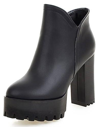 Women's Trendy Round Toe Side Zipper Platform Ankle Booties Block High Heel Short Boots Shoes