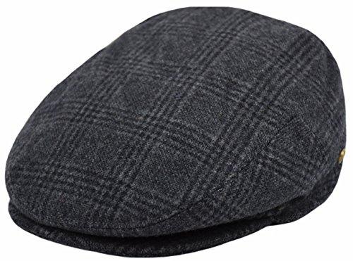 Deewang Classic Men's Flat Hat Wool newsboy Herringbone Tweed Driving Cap (IV1930-Black, (Tweed Wool Hat)