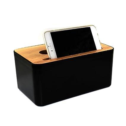qseven caja de pañuelos rectangular polipropileno + madera tejido dispensador de servilletas soporte para casa/
