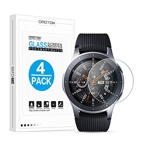 [4 Pack] OMOTON Tempered Glass Screen Protector Compatible Samsung Galaxy Watch 46mm