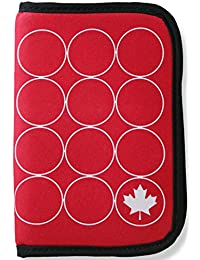ORB Travel RFID Passport Holder Travel Wallet-WP500-RW-Maple Leaf-Red/White-Zippered Credit Debit Card Travel Document Organizer Wallet Case