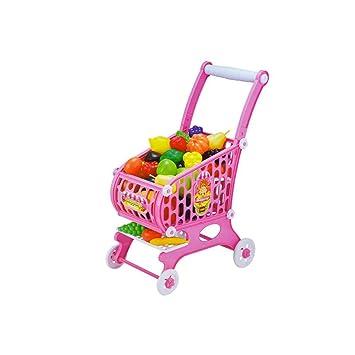 GLJJQMY Supermercado Carrito De Compras Niños Simulación Juego De Frutas Casa Juguete Cosido Juguete 36x22x53cm Juguetes educativos para niños (Color ...