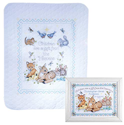 Design Works - Nursery Decor Cross Stitch - Gift from Heaven Woodland Animals - 2 Kits: Baby Quilt and Birth Announcement with 2 Gift Cards ()